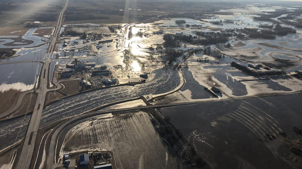 Aerial shot of flooded fields